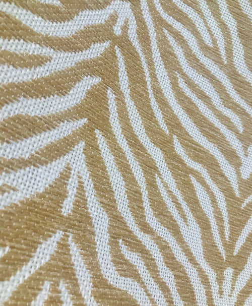 NEW Designer Upholstery Heavyweight Burnout Zebra Chenille Fabric- Beige White BTY