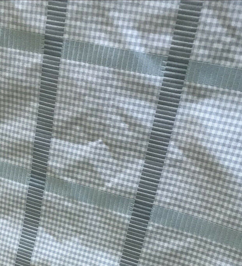 NEW! Designer 100% Silk Taffeta Gingham Ribbon Square Stripes Fabric - Blue