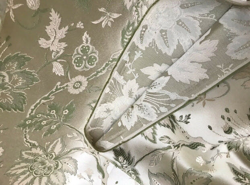 SALE Designer Brocade Satin Fabric- Antique Green & Beige Floral - Damask