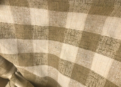 NEW! Designer 100% Raw Silk Gingham Check Decorating Fabric -Camel Brown