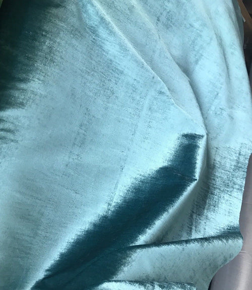 NEW! Designer Lined Silk Rayon Drapery Velvet Fabric By the yard- Turquoise - Fancy Styles Fabric Boutique