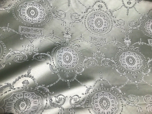 NEW SALE Neoclassical Brocade Satin Jacquard Upholstery Fabric- Louis Silver