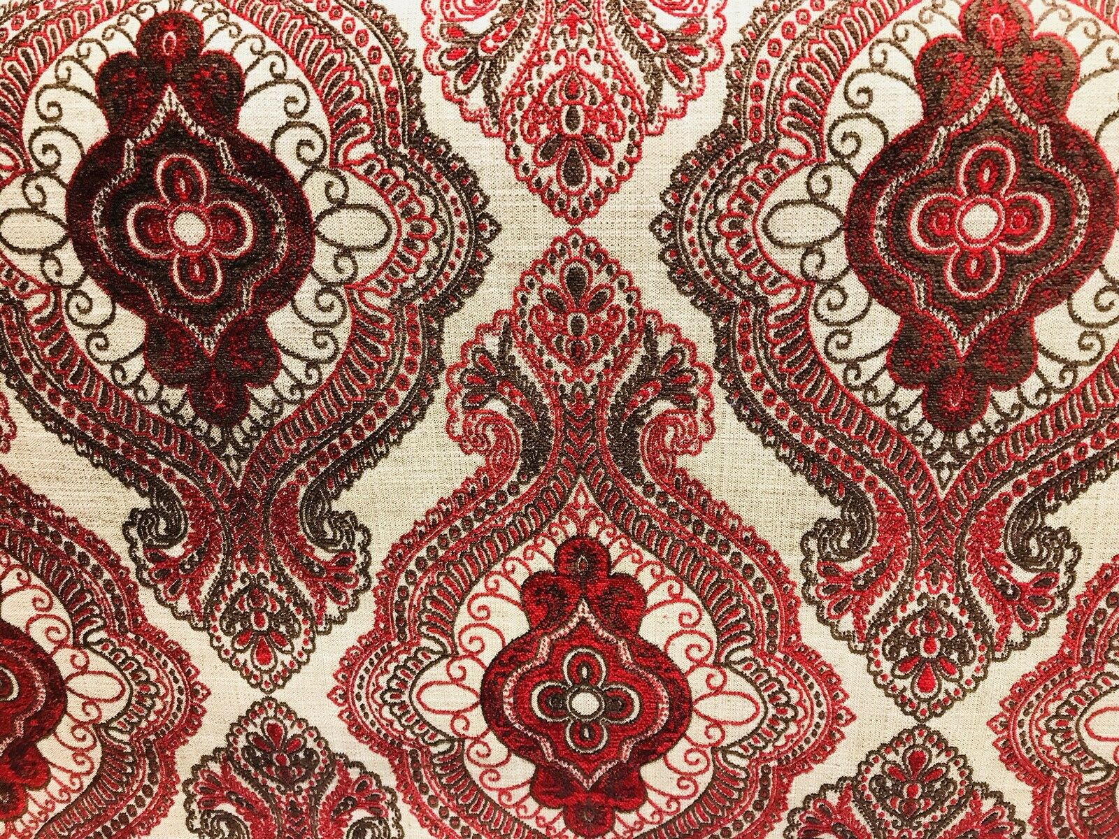 SWATCH Designer Burnout Linen Inspired Upholstery Fabric- Red And Flax