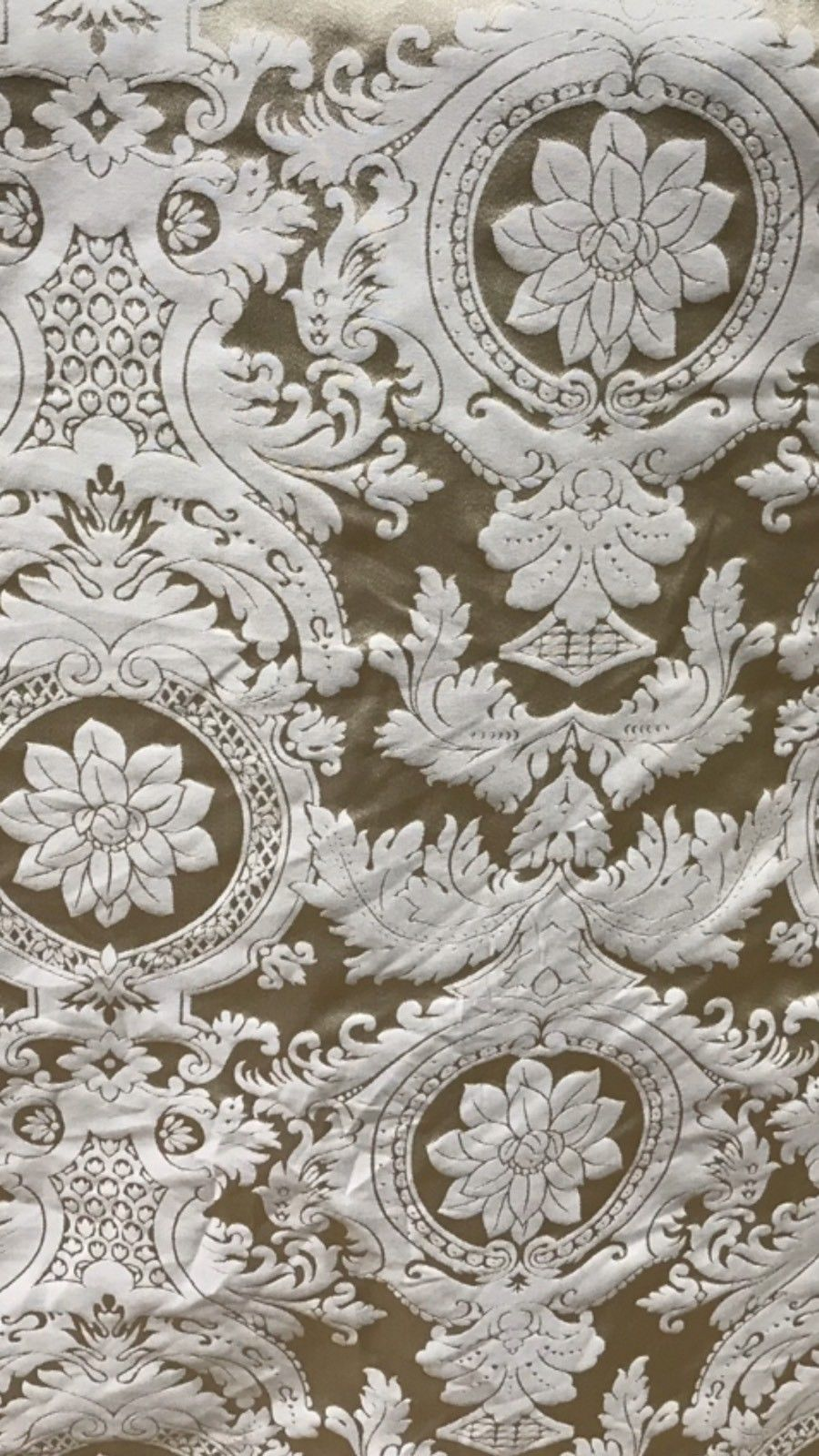 SWATCH Designer Damask Satin Fabric- Antique Gold Champagne - Upholstery Brocade - Fancy Styles Fabric Boutique