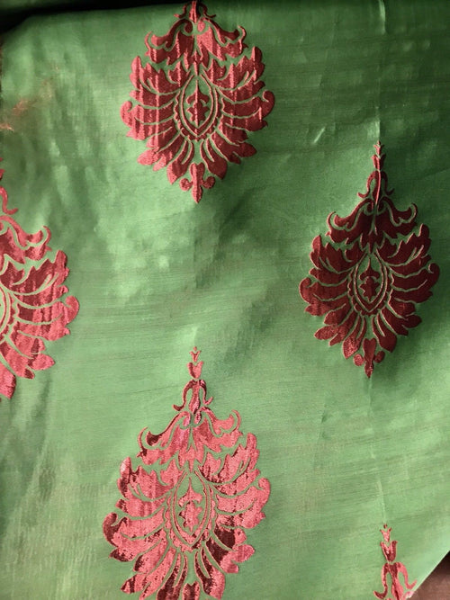 NEW! Red And Green Brocade Damask Interior Design Drapery Fabric - Fancy Styles Fabric Boutique