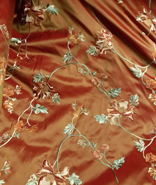 SALE! 100% Silk Taffeta Fabric With Floral Embroidery Orange Red Iridescent - Fancy Styles Fabric Boutique