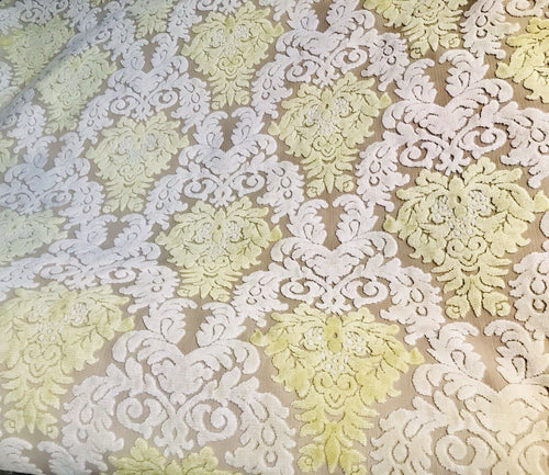 Novelty Italian Burnout Damask Chenille Upholstery Velvet Fabric -Yellow Cream