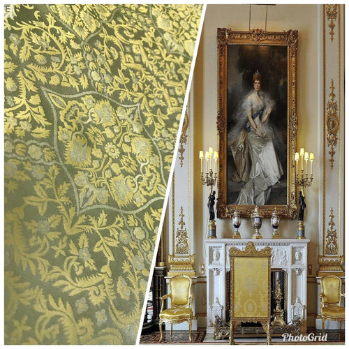 SWATCH 100% Silk Taffeta Interior Design Fabric Damask Brocade French Yellow