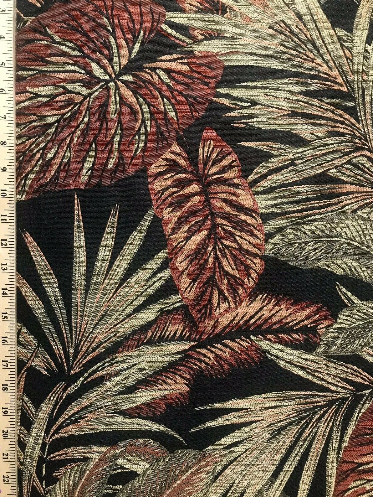 BACK IN STOCK! Designer Brocade Upholstery Fabric- Palm Leaves Floral Black