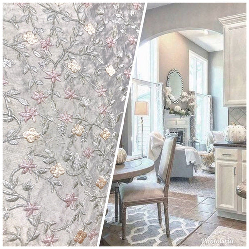 NEW 100% Silk Embroidered Taffeta Fabric - Floral Gray Pink Floral - Fancy Styles Fabric Pierre Frey Lee Jofa Brunschwig & Fils