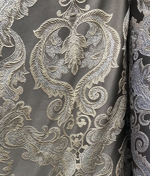 "Designer Brocade Satin Fabric- Gray Silver Gold - Damask- 110"" Wide - Fancy Styles Fabric Pierre Frey Lee Jofa"