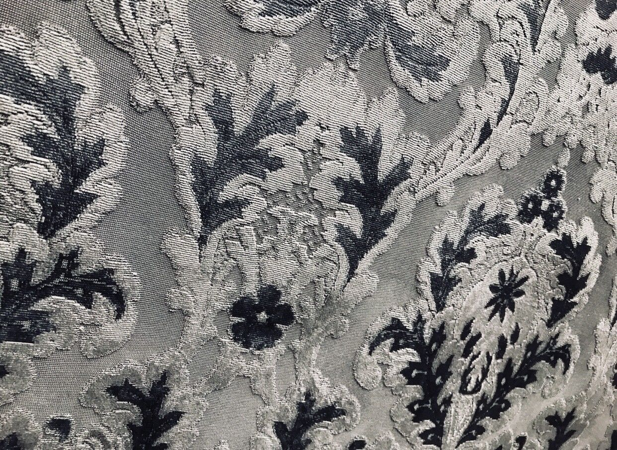 SALE! Antique Inspired Burnout Velvet Damask Fabric - Upholstery Gray Brocade - Fancy Styles Fabric Boutique