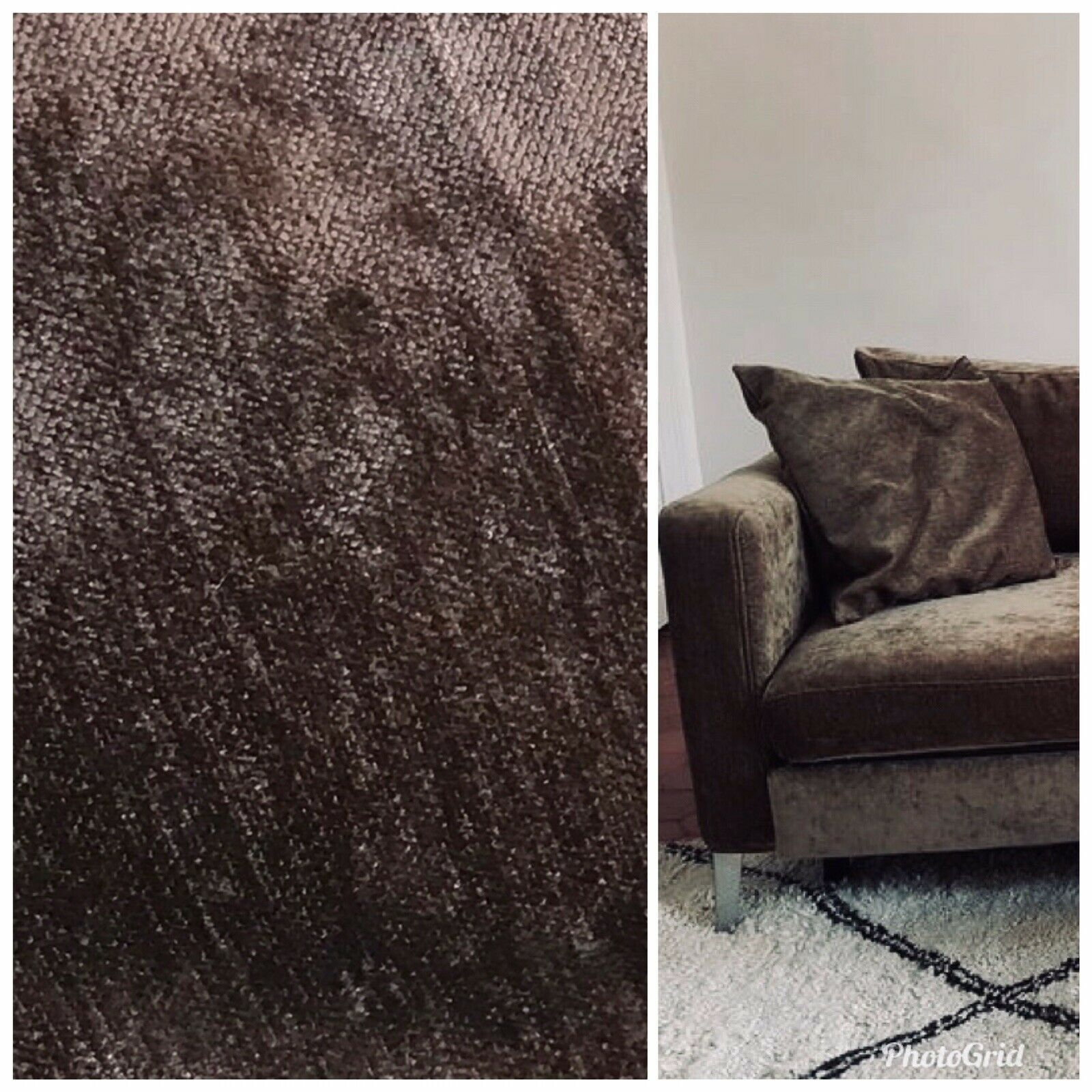 Designer Velvet Upholstery Decorating Fabric - Mocha Brown- By The Yard