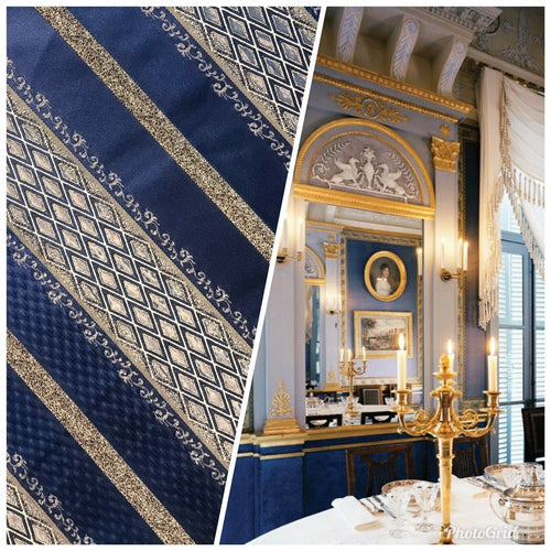 Designer Brocade Upholstery & Drapery Satin Striped Fabric Blue Gold LLPBB0004