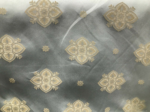 SWATCH Designer Brocade Damask Fabric- Antique Silver Blue And Yellow Upholstery