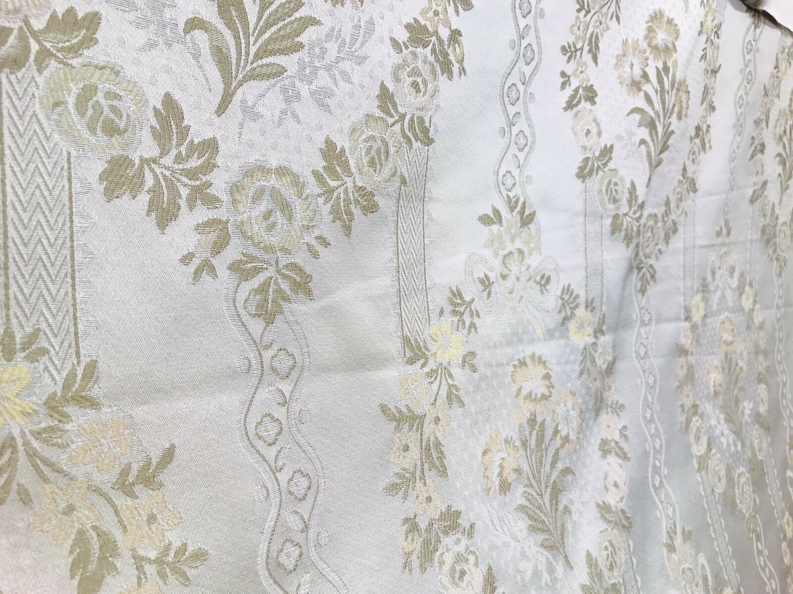 NEW Italian Brocade Satin Fabric- White Ivory- Floral Upholstery Neoclassical