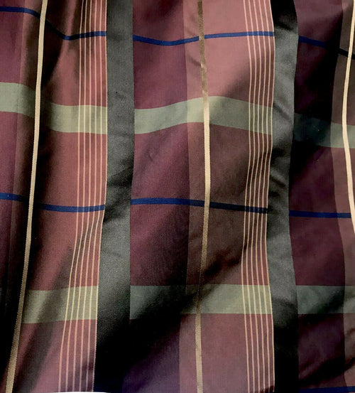 NEW Duchess Marilyn Designer 100% Silk Taffeta Plaid Tartan Fabric- Burgundy Gold Brown BTY