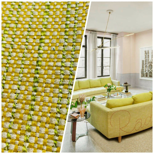 NEW Two-Tone Upholstery Tweed Texture Nubby Fabric -Yellow & Green