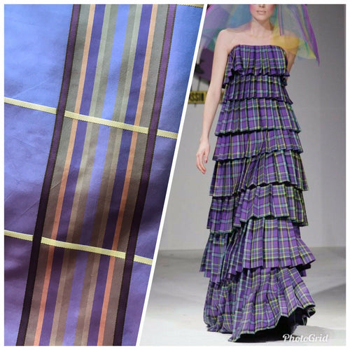 Lady Deborah Designer 100% Silk Taffeta Plaid Tartan Ribbon Fabric Purple