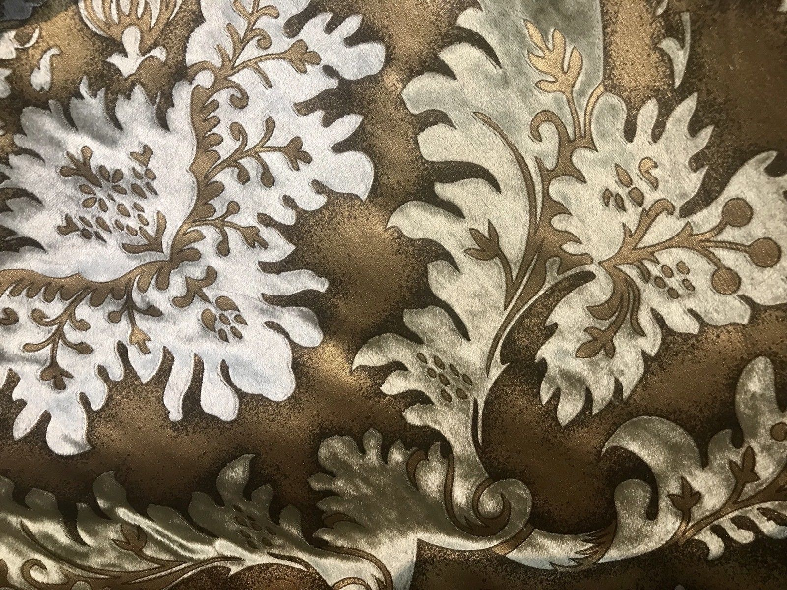 Designer Burnout Damask Cut Velvet Fabric Metallic Gold & Beige Drapery - Fancy Styles Fabric Pierre Frey Lee Jofa