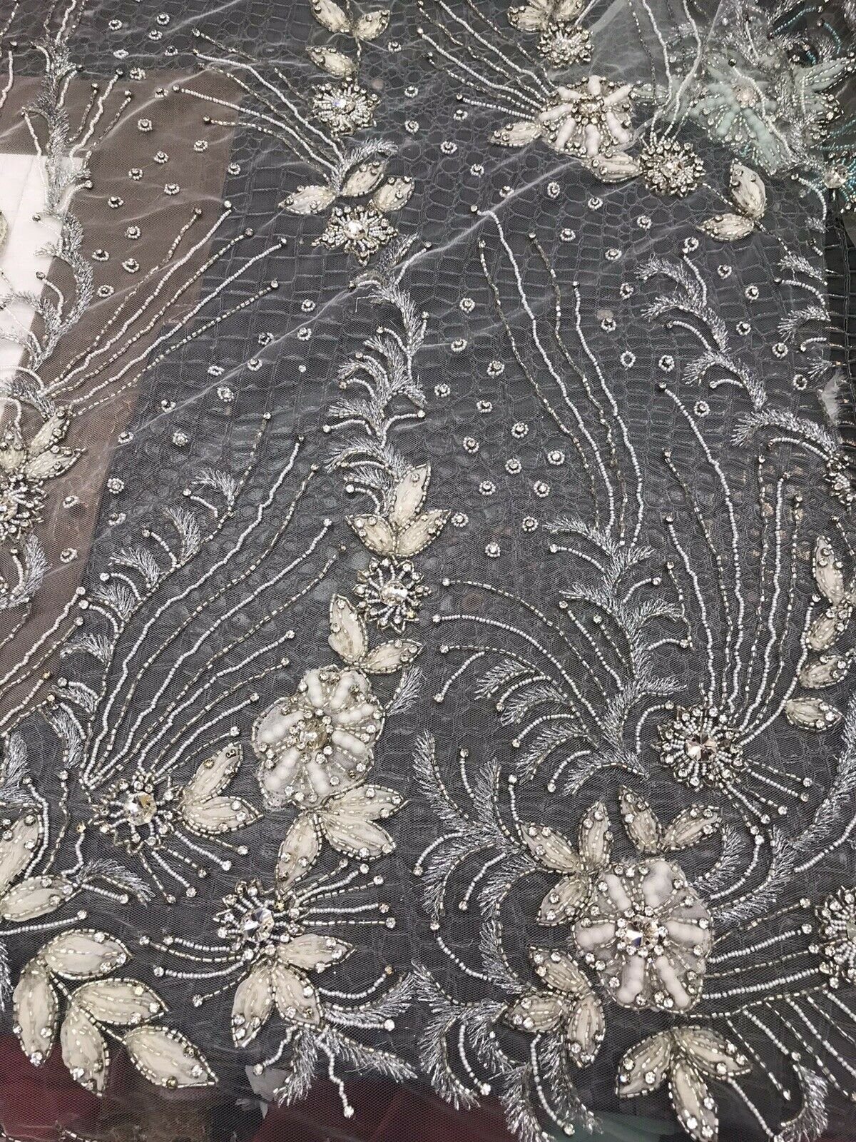 NEW Novelty Couture 100% Silk Floral Mesh Beaded Yarn Embroidered Fabric Ivory BTY