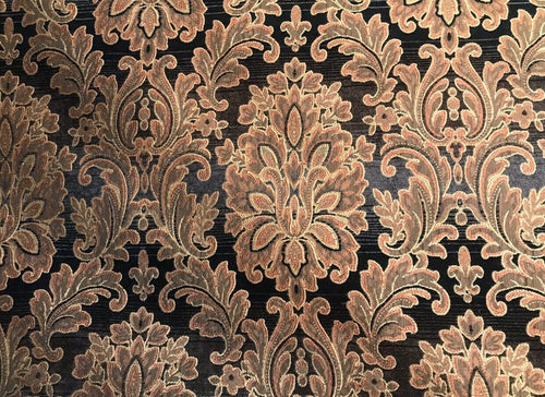 Imported Designer Damask Burnout Chenille Velvet Fabric - Brown BTY