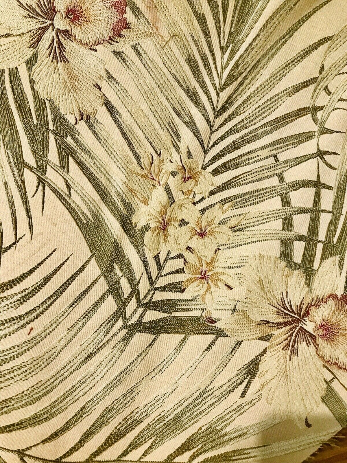 Designer Brocade Upholstery Fabric- Palm Leaves Floral Beige LLPBY0003