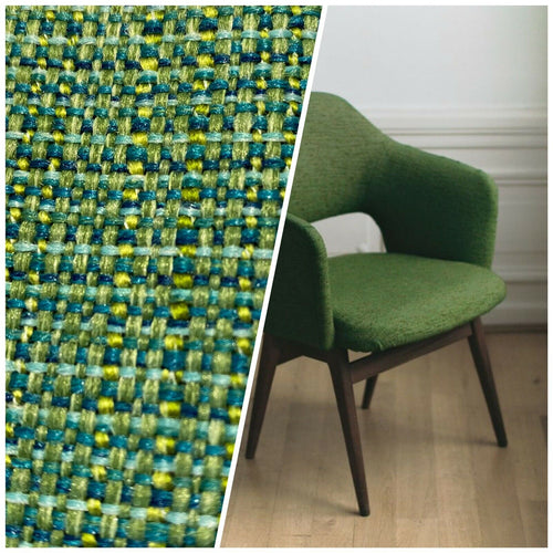 NEW Two-Tone Upholstery Tweed Texture Nubby Fabric -Green & Dark Green