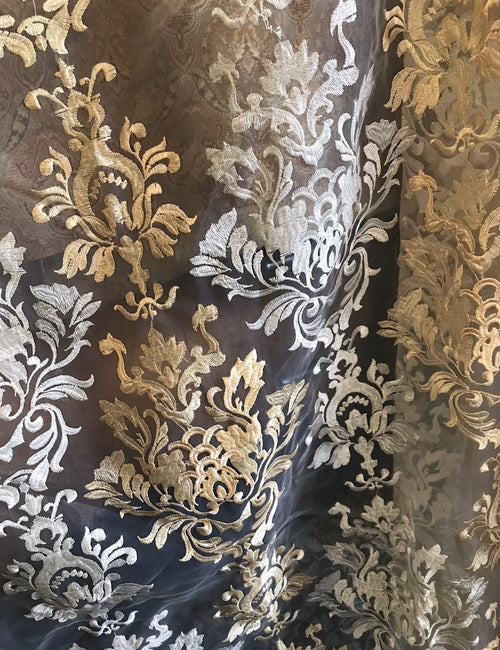 "SALE 112"" Wide Sheer Voile Drapery Fabric Interior Decorating- Taupe Embroidery - Fancy Styles Fabric Boutique"