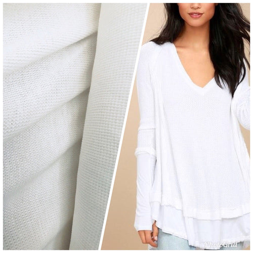 SALE! Designer 100% Cotton Lightweight Thermal Waffle Knitted Knit Fabric WHITE - Fancy Styles Fabric Boutique