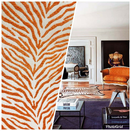 NEW Designer Upholstery Heavyweight Burnout Zebra Chenille Fabric- Orange White BTY