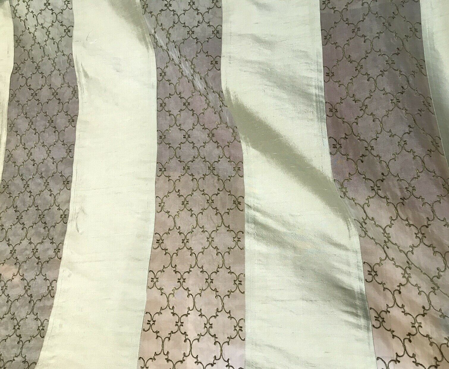 Lady Rachelle 100% Silk Taffeta Striped Drapery Fabric - Pale Green & Clear - Embroidered