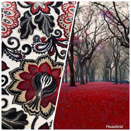 NEW Novelty Belgium Burnout Chenille Velvet Fabric Upholstery- Red Floral - Fancy Styles Fabric Boutique