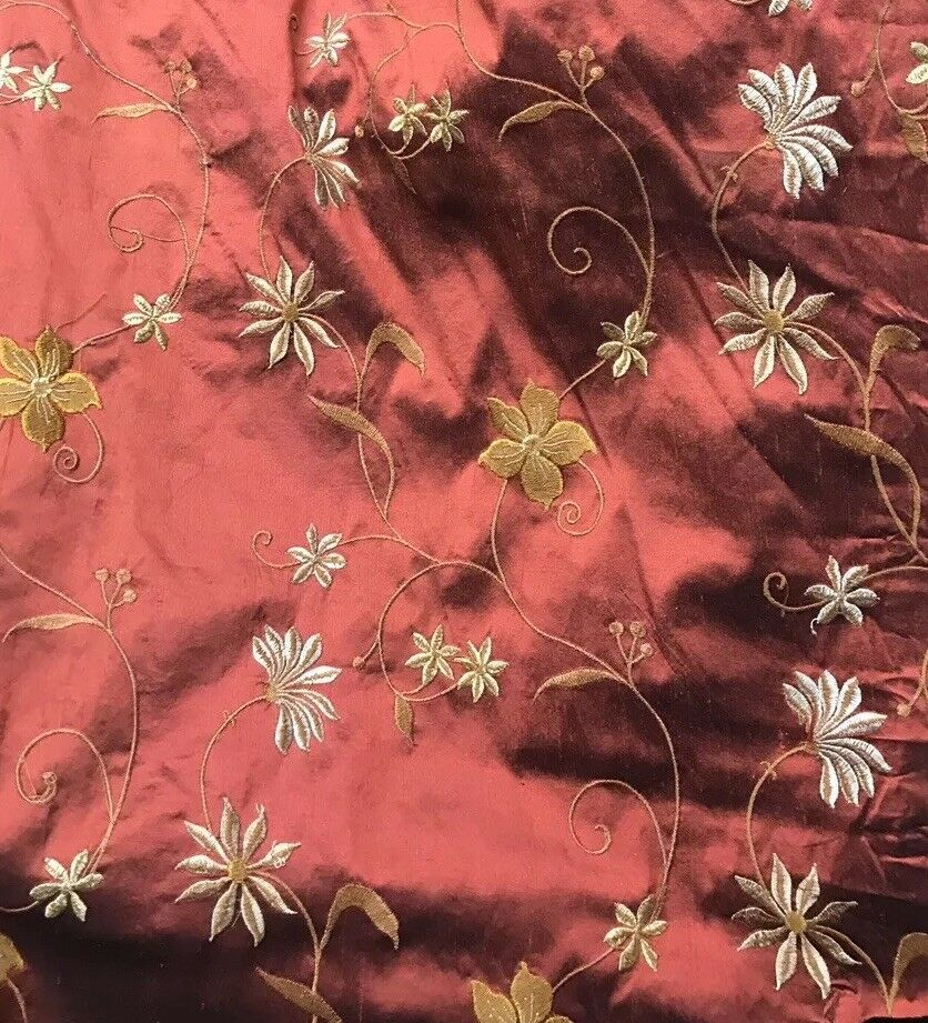 SALE! Designer 100% Silk Taffeta Embroidery Floral Fabric Rust Red- Textured