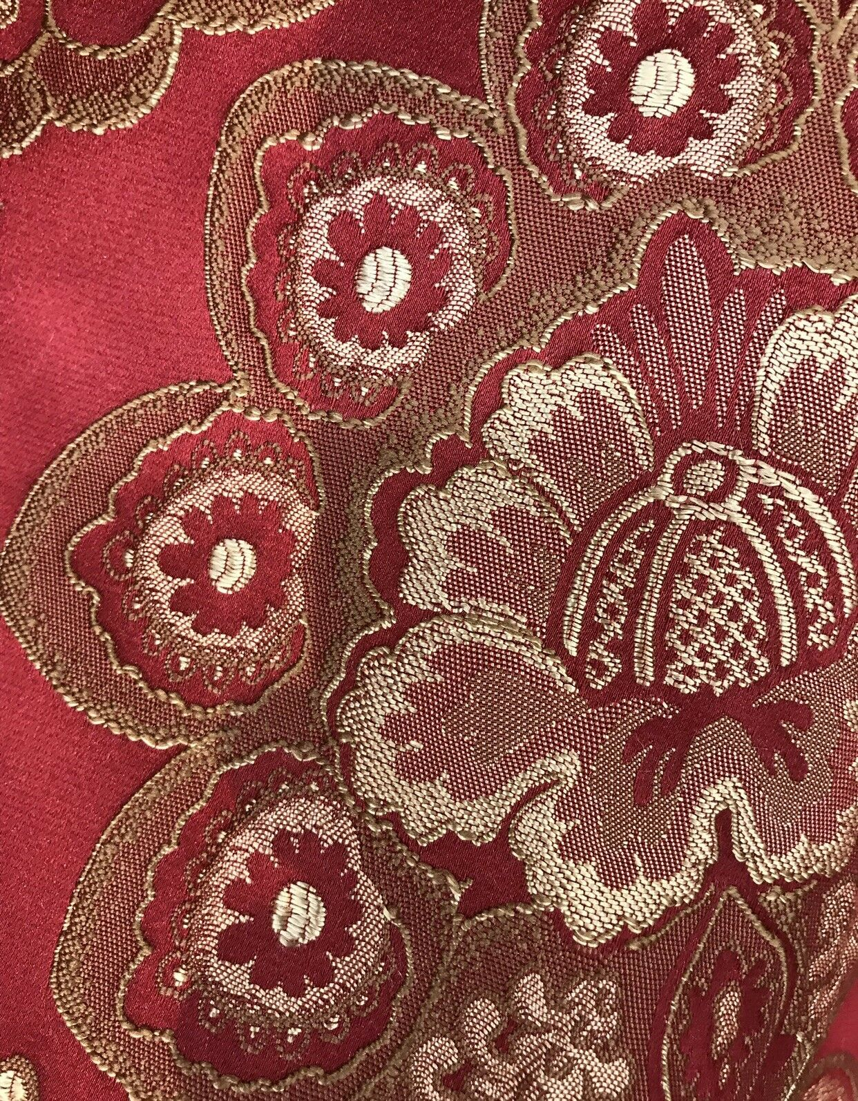 Designer Brocade Satin Fabric- Antique Inspired Red and Gold - Upholstery