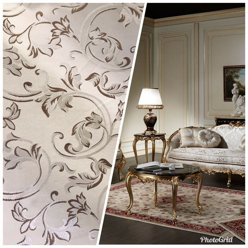 NEW Brocade Satin Fabric- Cream & Taupe- Floral Leaves Upholstery Neoclassical - Fancy Styles Fabric Pierre Frey Lee Jofa Brunschwig & Fils