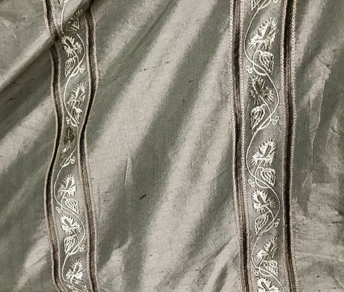 SWATCH 100% Silk Taffeta Drapery Fabric -Embroidery Khaki Green
