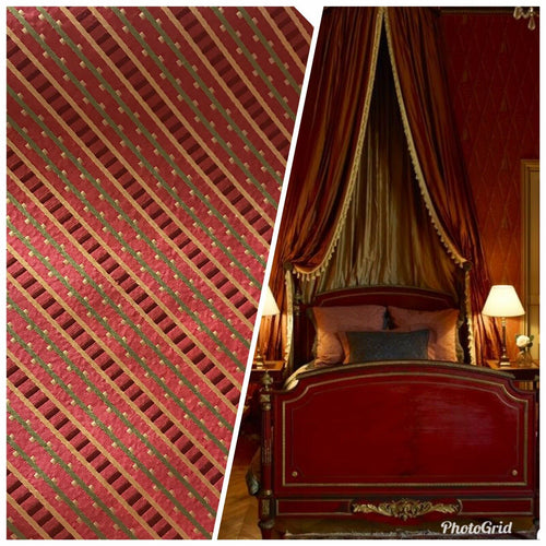 NEW! Designer 100% Silk Taffeta Striped Fabric - Red LLSAR0001