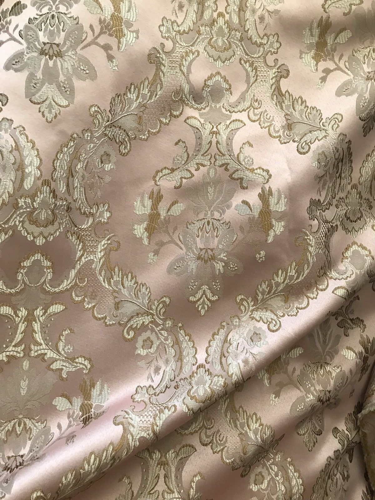 "Fat Quarter 18"" X 20"" SALE! Brocade Jacquard Fabric- Antique Pink Gold- Damask - Fancy Styles Fabric Pierre Frey Lee Jofa Brunschwig & Fils"
