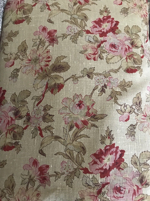 Designer Imported Olive Green 100% Linen Woven Fabric French Flowers - Fancy Styles Fabric Pierre Frey Lee Jofa Brunschwig & Fils