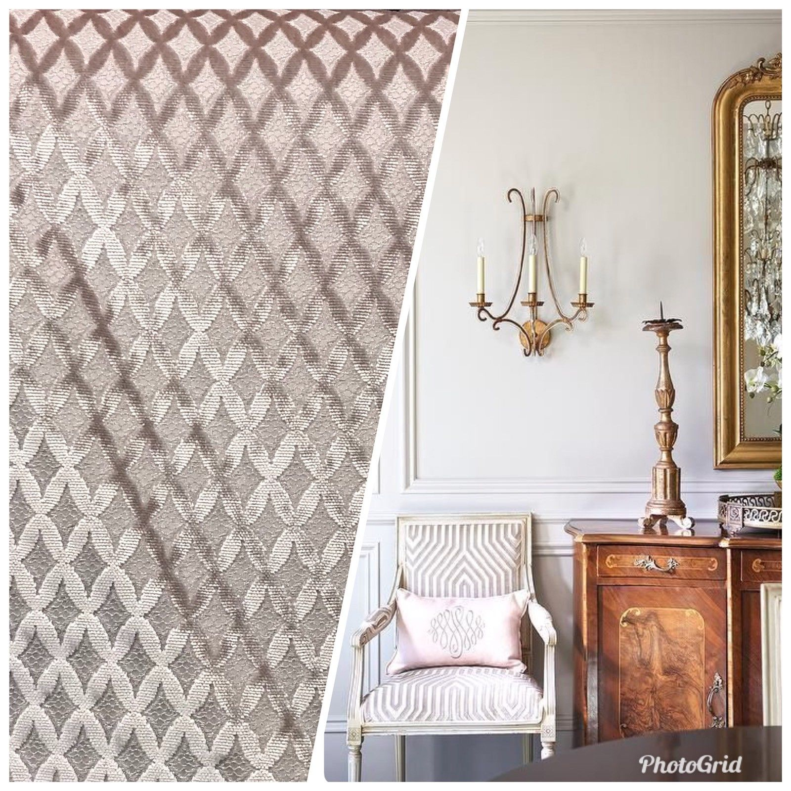 Made In Italy Designer Upholstery Burnout Chenille Velvet Fabric Rose Gold Pink - Fancy Styles Fabric Pierre Frey Lee Jofa Brunschwig & Fils