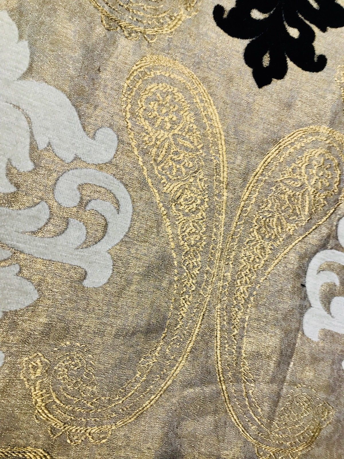 SWATCH Brocade Fabric- Antique Cream, Gold, Black- Damask Interior Design - Fancy Styles Fabric Boutique