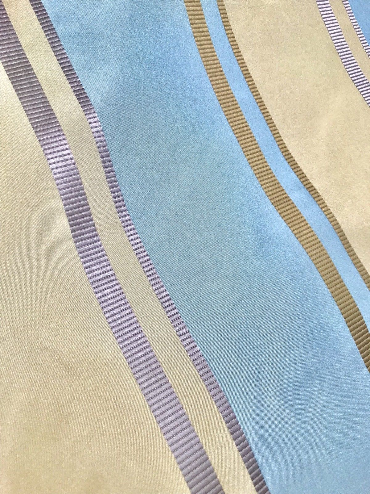 NEW 100% Silk Taffeta Drapery Decorating Fabric - Blue Gold Stripes By The Yard - Fancy Styles Fabric Pierre Frey Lee Jofa Brunschwig & Fils