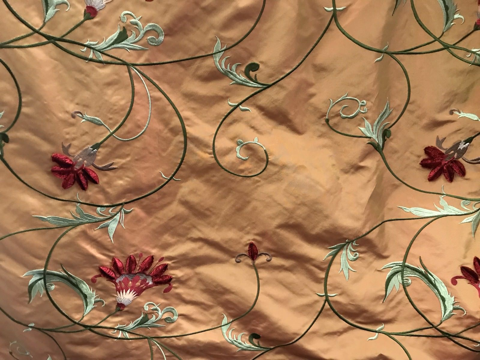 SWATCH 100% Silk Taffeta Interior Design Fabric With Velvet Embroidery Orange - Fancy Styles Fabric Boutique