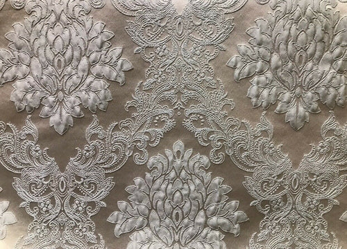 SALE! Designer Brocade Satin Fabric- Gray On Gray- Upholstery Damask