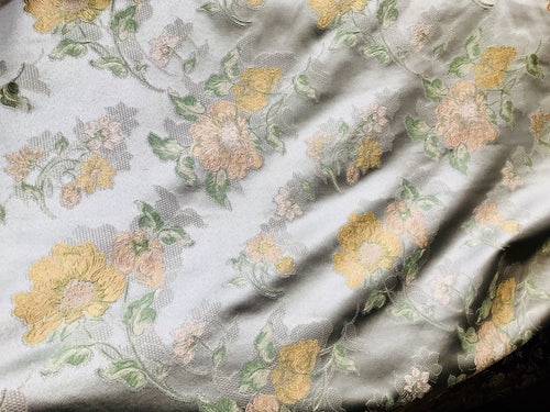 SALE Designer Brocade Satin Fabric- Mint Green Pink Yellow Floral - Damask - Fancy Styles Fabric Boutique