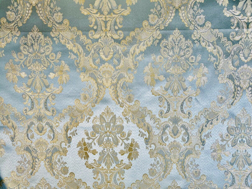 NEW! Designer Brocade Jacquard Fabric- Antique Duck Egg Blue Gold- Damask