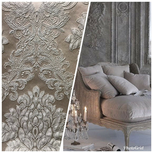 1 Yard Remnant -Designer Brocade Satin Fabric- Gray On Gray- Upholstery Damask - Fancy Styles Fabric Pierre Frey Lee Jofa