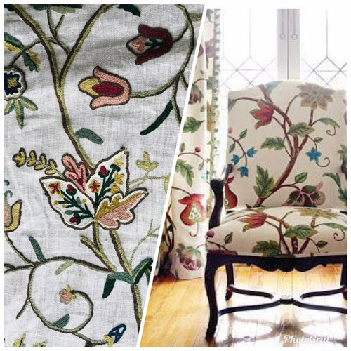 Novelty Floral Wool Yarn Embroidery Linen Inspired Fabric Upholstery Drapery