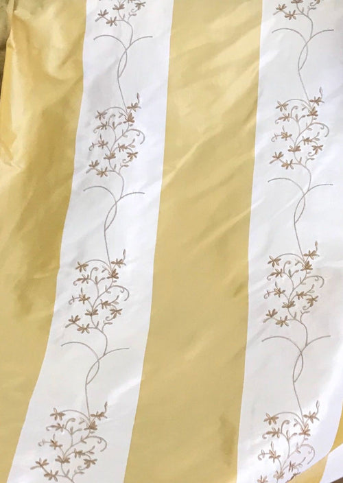 NEW! 100% Silk Taffeta Drapery Fabric Floral Embroidery Yellow White Stripe - Fancy Styles Fabric Boutique